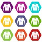 Het pictogram vastgestelde kleur van hockeyjersey hexahedron Royalty-vrije Stock Foto's