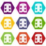 Het pictogram vastgestelde kleur van het jagersvest hexahedron Stock Foto's