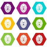 Het pictogram vastgestelde kleur van het keepermasker hexahedron Royalty-vrije Stock Foto