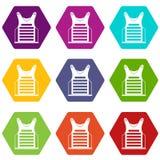Het pictogram vastgestelde kleur van het Paintballvest hexahedron Royalty-vrije Stock Foto