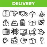 Het Pictogram Vastgestelde Vector van de leveringslijn De snelle Vervoersdienst Levering 24 Logistieke ondersteuningpictogrammen  royalty-vrije illustratie