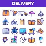 Het Pictogram Vastgestelde Vector van de leveringslijn De snelle Vervoersdienst Levering 24 Logistieke ondersteuningpictogrammen  vector illustratie