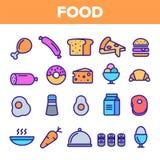 Het Pictogram Vastgestelde Vector van de voedsellijn De Pictogrammen van het het Ontbijtvoedsel van de huiskeuken Menupictogram F stock illustratie