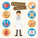 Het Pictogram vastgestelde vector van het artsenkarakter Stock Afbeelding