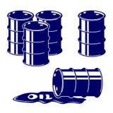Het pictogram vastgestelde vectorillustratie van de vatolie Stock Afbeeldingen