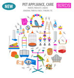 Het pictogram vastgestelde vlakke stijl van het huisdierentoestel die op wit wordt geïsoleerd Vogelszorg Royalty-vrije Stock Fotografie