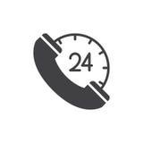 het pictogram vector, gevuld vlak teken van het 24 urencall centre, stevig die pictogram op wit wordt geïsoleerd Royalty-vrije Stock Fotografie