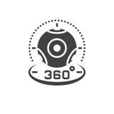 het pictogram vector, virtuele werkelijkheid D van de 360 graad panoramische videocamera Stock Fotografie