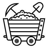Het pictogram vectorillustratie van het steenkoolkarretje stock illustratie