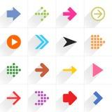 Het pictogram vlak teken van de kleurenpijl met lange schaduw Royalty-vrije Stock Foto