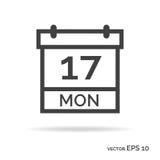 Het pictogram zwarte kleur van het kalenderoverzicht Stock Foto