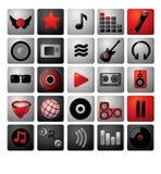 Het pictogramarchief van de muziek. Stock Foto's