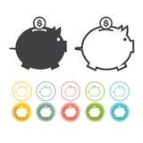 Het pictogrambeeldschriftteken van het spaarvarken van moneybox vastgesteld Vector zwart Geel roze Royalty-vrije Stock Afbeelding
