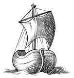 Het pictogramgravure van de boot royalty-vrije illustratie