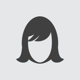 Het pictogramillustratie van het vrouwengezicht Stock Foto's