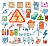 Het pictograminzameling van de elektriciteitskrabbel, vectorillustratie Royalty-vrije Stock Foto's