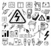 Het pictograminzameling van de elektriciteitskrabbel, vectorillustratie Royalty-vrije Stock Afbeeldingen