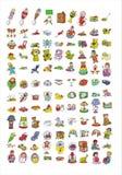 Het pictograminzameling van het beeldverhaal #07 Stock Foto's