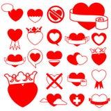 Het pictograminzameling van het hart - ontwerpelementen Stock Afbeelding