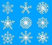 Het pictograminzameling van sneeuwvlokken Royalty-vrije Stock Afbeeldingen
