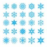 Het pictograminzameling van sneeuwvlokken Vector illustratie Stock Foto