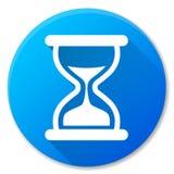 Het pictogramontwerp van de zandloper blauw cirkel Stock Foto's