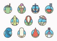 Het pictogrampak van de de zomer in vlak lijn voor ontwerpers en ontwikkelaars royalty-vrije illustratie