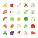 Het Pictogrampak van voedselingrediënten Stock Foto
