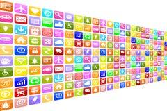Het Pictogrampictogrammen van toepassingsapps App voor mobiele of slimme telefoon worden geplaatst die Stock Afbeelding