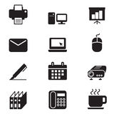 Het pictogramreeks silhouet van Bedrijfsbureauhulpmiddelen Stock Afbeelding