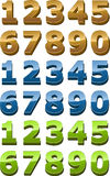 Het pictogramreeks van aantallen, 3d glanzende vlotte stijl Royalty-vrije Stock Foto's