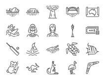 Het pictogramreeks van Australië Inbegrepen pictogrammen als het Australisch inheems, inheems, kangoeroe, koala, surfen, Sydney e vector illustratie