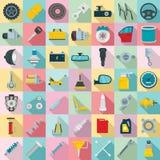 Het pictogramreeks van autodelen, vlakke stijl stock illustratie