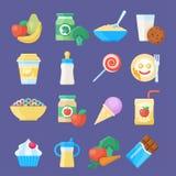 Het pictogramreeks van het babyvoedsel stock illustratie