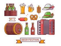 Het Pictogramreeks van het bierfestival Stock Foto's