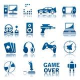 Het pictogramreeks van computerspelen Stock Afbeeldingen