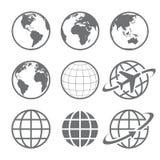Het Pictogramreeks van de aardebol Stock Afbeeldingen