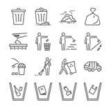 Het pictogramreeks van de afvallijn Omvatte de pictogrammen als huisvuil, stortplaats, afval, bak, bereik, draagstoel en meer royalty-vrije illustratie