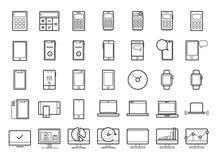 Het pictogramreeks van de apparatenlijn Draagbare compacte personal computer, smartphone, mobiele telefoon, gadgets voor informat stock foto