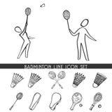 Het pictogramreeks van de badmintonlijn Royalty-vrije Stock Foto's