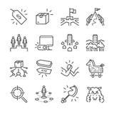 Het pictogramreeks van de bedrijfsstrategie vectorlijn Omvatte de pictogrammen als strategie, concurrent, product, prijs en meer royalty-vrije illustratie
