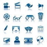 Het pictogramreeks van de bioskoop en van het theater Royalty-vrije Stock Afbeelding