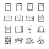 Het pictogramreeks van de boekenlijn Omvatte de pictogrammen aangezien het boek, studie, onderwijs, document, document en meer le royalty-vrije illustratie