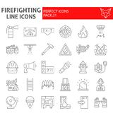 Het pictogramreeks van de brandbestrijders dunne lijn, de inzameling van brandweermansymbolen, vectorschetsen, embleemillustratie vector illustratie