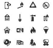 Het pictogramreeks van de brandbrigade Royalty-vrije Stock Foto