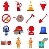 Het pictogramreeks van de brandvechter, vlakke stijl royalty-vrije illustratie