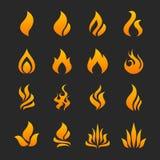 Het pictogramreeks van de brandvlam royalty-vrije illustratie