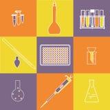 Het pictogramreeks van de chemiebiologie Stock Afbeeldingen