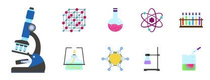 Het pictogramreeks van de chemiewetenschap, vlakke stijl stock illustratie