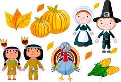Het pictogramreeks van de dankzegging Royalty-vrije Stock Afbeeldingen